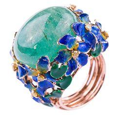 Enamel Cabochon Emerald Diamond Gold Ring