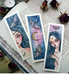 Handmade Watercolor Bookmarks To Buy, To Make, and To Print Watercolor Bookmarks, Watercolor Art, Art Inspiration Drawing, Art Inspo, Art Sketches, Art Drawings, Art Du Croquis, Art Mignon, Arte Sketchbook