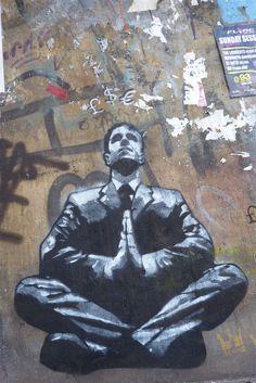 jef aerosol business man yoga graffiti Street Art: 50 amazing examples by PURPLE BLOGGER on Mar 12, 2013