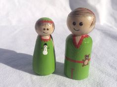 Christmas themed Hand painted wooden peg people Santa by Pegatopia