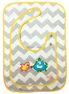 Lars & Lucy, bird and monster buddies, on a super soft and absorbent 100% cotton bib with coordinating burp cloth set! From Jessy & Jack. Also available in bright reds and blues with red trim.