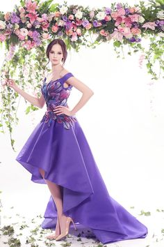 Off-the-shoulder purple high-low evening dress with pink and blue detail (Fleur Bleue 2016 Spring/Summer Collection by Fadwa Baalbaki)