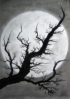 ink tree & moon: value, shading, monochromatic, light/dark #wallartroad #sketches