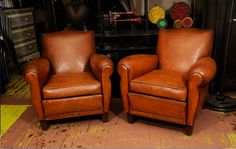 French club chairs in divine leather