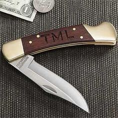 Personalized Brass Lockback Pocket Knife - 7662