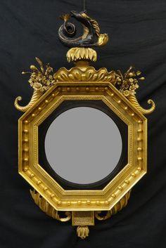 A Regency Giltwood, Gilt-Composition and Ebonized Convex Mirror - Hyde Park Antiques, Ltd.