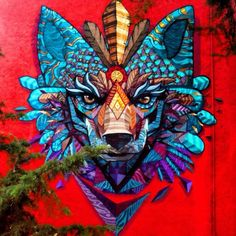 """Street art   Mural """"Coyohuacan"""" (Coyoacán, Mexico) by Farid Rueda  This piece of art makes me think of how the Coyote necklace is described, with the gold and the blue."""