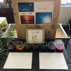 "In the last couple weeks of school, we decided to do an inquiry about the sky. Our Driving Questions were, ""What do we see in the daytime s. Inquiry Based Learning, Project Based Learning, Year 2 Classroom, Classroom Ideas, Montessori Science, Art Activities, Night Skies, Kindergarten, Weather"