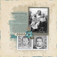 Reminiscing, pg. 1 ~ Lovely two page digi layout with a simple design. The soft blue background for the journaling adds contrast to the subtle color palette and makes it easier to read. Great journaling provides insight into a life well lived.