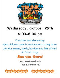 trunk or treat flyer instant download halloween template church