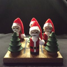 PEG SANTA and TREE Tic Tac Toe Set by WOODuPlayGames on Etsy