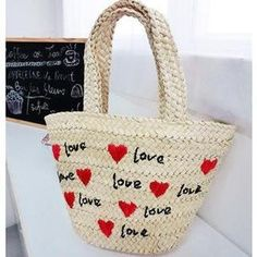 Heart Pattern Straw Tote Black