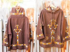 Brown Vintage Jacket with Mustard, Rust and Cream Embroidery and Hood  https://www.etsy.com/listing/170231679/free-shipping-brown-vintage-jacket-with?ref=shop_home_active
