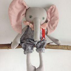 Green eyed ELLIOTT Handmade OOAK Elephant by PeanutAndElliott