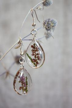 Earrings with heather. Ear drops with heather. by Dingaya on Etsy
