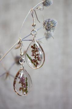 heather earrings. Dangle earrings. Earrings with heather. Epoxy resin earrings…