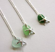 Sterling silver necklace with sea glass and by HollyMackDesigns, $40.00