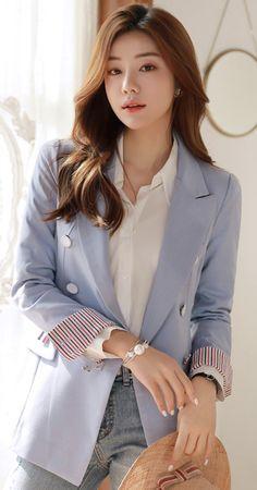 Korean Women`s Fashion Shopping Mall, Styleonme. Outfits Otoño, Best Casual Outfits, Blazer Outfits, Korean Outfits, Fashion Outfits, Coats For Women, Clothes For Women, Korean Fashion Trends, Tailored Jacket