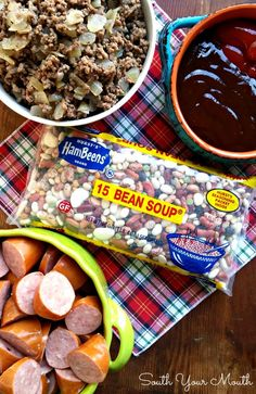 BBQ beans with smoked sausage, bacon and ground beef made easy in the crock pot! Beans In Crockpot, Bbq Beans, Sausage Crockpot, Crockpot Dishes, Crock Pot Cooking, Oven Cooking, Best Baked Beans, Baked Bean Recipes, Beans Recipes