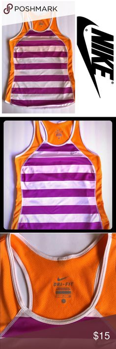 Nike dri-fit tank Nike dri-fit tank. Purple, orange and white. Great condition! Fast shipping! Bundle and save! 20% off bundles of 2 or more! Nike Tops Tank Tops