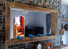 Interesting Hanging Bathroom Mirror With Shelf Large Rustic Reclaimed Wooden Farmhouse Mirror With Tea Light Shelf Hanging Bathroom Mirror With Shelf Barn Wood Mirror, Bathroom Mirror With Shelf, Reclaimed Wood Mirror, Wood Framed Mirror, Floor Mirror, Rustic Wood, Industrial Mirrors, Rustic Mirrors, Industrial Living