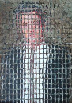 """""""Uomo con giacca e cravatta"""", cm 70 x 50, acrilico su tela di Paolo Avanzi www.paoloavanzi.com"""