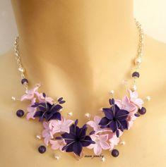 Collier mariage, collier de fleurs, rose bijoux, bijoux Violet, fleur de Lys, collier fait main, bijoux, cadeau pour elle, bijoux de mariage de fleurs