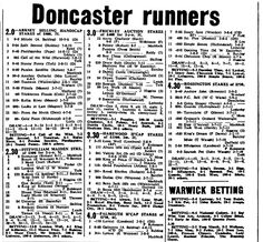 Doncaster Racecard for 1969 Yorkshire Towns, Sport, Deporte, Sports