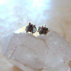 Diamond Slice Earrings Black Diamond by AlisonTitusJewelry on Etsy