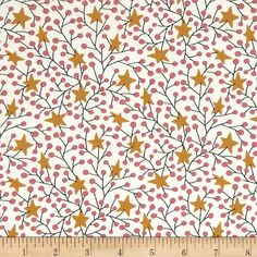 Stars and Branches Gold Rose  From Benartex, this cotton print fabric is perfect for quilting, apparel, crafts and home décor accents. Colors include gold and rose on a cream background.