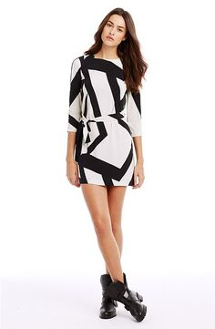 Armani Exchange Print Tee Dress in bold graphic black and white print.