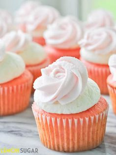 Strawberry Cupcakes with Ice Cream Buttercream #recipe #cupcake #strawberry
