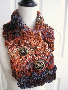 Crocheted Neck WarmerCowlScarfShades of Orange Blue by RoseJasmine, $29.00