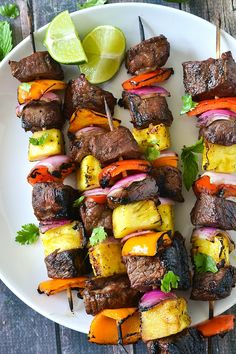 This Teriyaki Steak Kabobs Paleo Mother Thyme is a good for our Lunch made with wholesome ingredients! Pastas Recipes, Skewer Recipes, Paleo Recipes, Recipies, Yummy Recipes, Steak Kabobs, Shish Kabobs, Kebabs, Beef Skewers