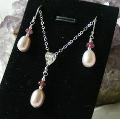 Soft Pink Pearl, Pink Tourmaline  Sterling Silver Pendant  Earring Gift Set £20.00