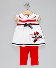 Take a look at this Red & White Minnie Mouse Dress & Leggings by Disney on #zulily today!