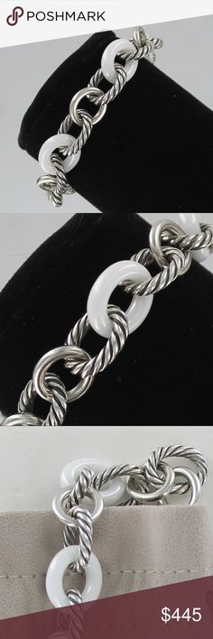 """David Yurman large link Bracelet White Ceramic PRICE IS FIRM!  100% Authentic  Just in time for Spring/Summer   David Yurman Large Oval & Cable Chain Link Bracelet  Sterling Silver & White Ceramic Links  Length- 7.5""""  Excellent pre-owned condition. See photos. This bracelet is a beauty!  DY/925 hang tag  Brand new David Yurman pouch. David Yurman Jewelry Bracelets"""