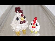 Chicken, How to make beaded [WancoBeads Seed Bead Patterns, Beaded Jewelry Patterns, Peyote Patterns, Beading Patterns, Brick Stitch Tutorial, Seed Bead Art, Chicken Crafts, Beaded Angels, Beaded Crafts