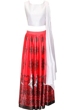 White and red mithu printed crop top and skirt