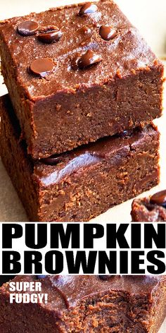 PUMPKIN BROWNIES RECIPE- Super fudgy, quick and easy pumpkin brownies, homemade with simple ingredients. Starts off with a brownie mix. Loaded with chocolate chips and pumpkin spice. Great Thanksgiving Dessert or Fall dessert. Can also be turned into 2 ingredient brownies or pumpkin cheesecake brownies. From CakeWhiz.com #brownies #chocolate #pumpkin #dessert #thanksgiving