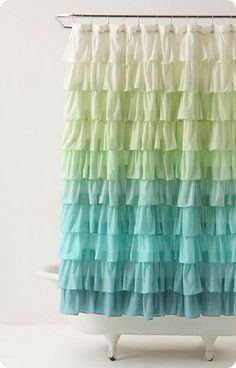 Flamenco Shower Curtain - what the hell is that! It looks like someone mugged a flamenco dancer and hung up her dress. Anthropologie Bedroom, Ombre Shower Curtain, Cute Shower Curtains, Curtain Tutorial, Diy Tutorial, Rideaux Design, Ruffle Curtains, Tablescapes, Scraps Quilt
