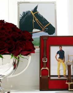 Ralph Lauren equestrian. I love the photo of horse: color contrast with the bridle. I also love that red photo frame
