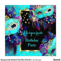 Masquerade Masked Teal Blue Pink Birthday Party Invitation Purple Birthday, Gold Birthday Party, Halloween Birthday, Halloween Party Decor, Birthday Party Invitations, 40 Birthday, Halloween Halloween, Birthday Ideas, Masquerade Party Centerpieces
