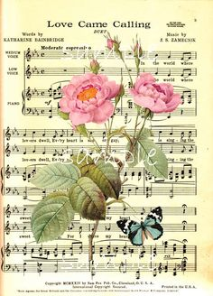 Single Image  Vintage Music Sheet with Roses by CountryAtHeart2008, $1.00