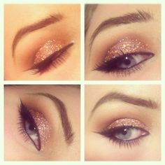 nude, neutral, glitter, makeup perfect for the holidays...