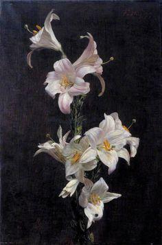 White Lilies by Henri Fantin-Latour, 1877. Henri Fantin Latour, Art Floral, Botanical Art, Botanical Illustration, Blog Art, Ouvrages D'art, Monet, Still Life Art, Caravaggio
