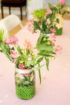Ahomewithwalls.com - Princess and the Pea Baby Shower - Sprinkle Shower - for Penelope Mae - peas and flowers in mason jar floral centerpieces - princess and the pea party ideas
