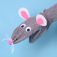 Rat Sock Puppet | Free Craft Ideas | Baker Ross Sock Puppets, Hand Puppets, Sewing For Kids, Diy For Kids, Chinese New Year Crafts For Kids, Dragon Puppet, Puppets For Kids, Egg Carton Crafts, Puppet Crafts