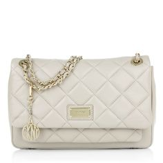 DKNY Gansevoort Flap Bag Quilted Nappa Cement in beige   fashionette 9c442de26f