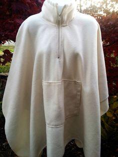 Women's Winter White Fleece Long Poncho-One Size With Kangaroo Pocket #Unbranded #Poncho